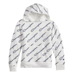 NEW Champion Kids script hoodie allover print